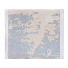 Baby Blue Chipped Paint Wooden Texture Throw Blank