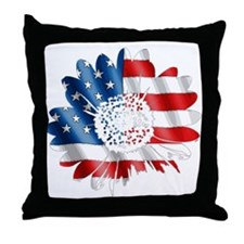 Patriotic Sunflower Throw Pillow