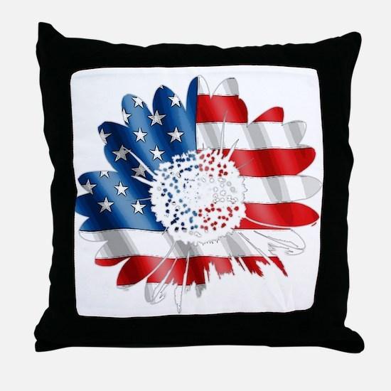 Patriotic Sunflower Throw Pillow