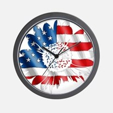 Patriotic Sunflower Wall Clock