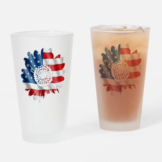 Patriotic Sunflower Drinking Glass