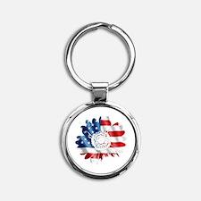 Patriotic Sunflower Round Keychain