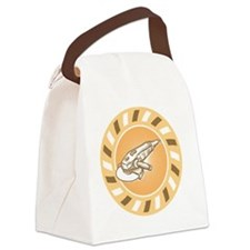 Angle Grinder Power Tool Woodcut  Canvas Lunch Bag
