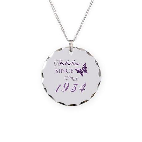 Fabulous Since 1934 Necklace Circle Charm