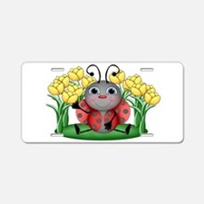 Ladybugs and Flowers Aluminum License Plate