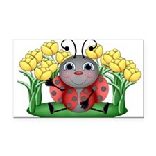 Ladybugs and Flowers Rectangle Car Magnet