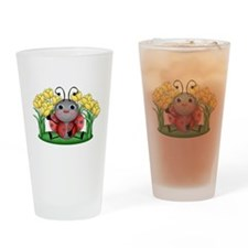 Ladybugs and Flowers Drinking Glass