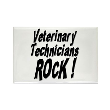 Veterinary Techs Rock ! Rectangle Magnet (10 pack)