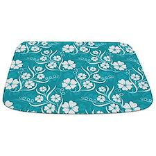 White Plumeria and Vines on Turquoise Mat Bathmat
