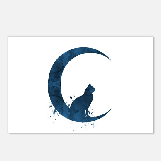 Cat sitting on the moon Postcards (Package of 8)