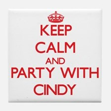 Keep Calm and Party with Cindy Tile Coaster
