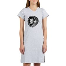 Lion Face Sketch Women's Nightshirt