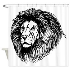 Lion Face Sketch Shower Curtain