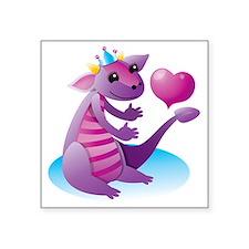 "Princess dragon with a love Square Sticker 3"" x 3"""