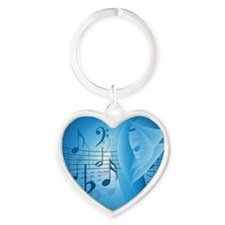 Music in Blue Heart Keychain