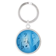 Music in Blue Round Keychain