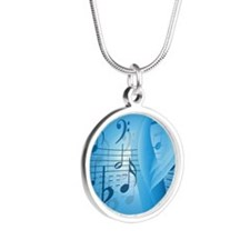 Music in Blue Silver Round Necklace
