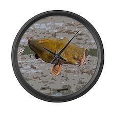 Catfish shower curtain Large Wall Clock