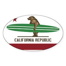 California Surfing Bear Longboard Decal