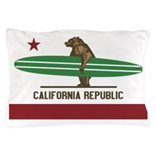 California Surfing Bear Longboard Pillow Case