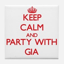 Keep Calm and Party with Gia Tile Coaster