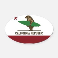 California Surfing Bear Oval Car Magnet