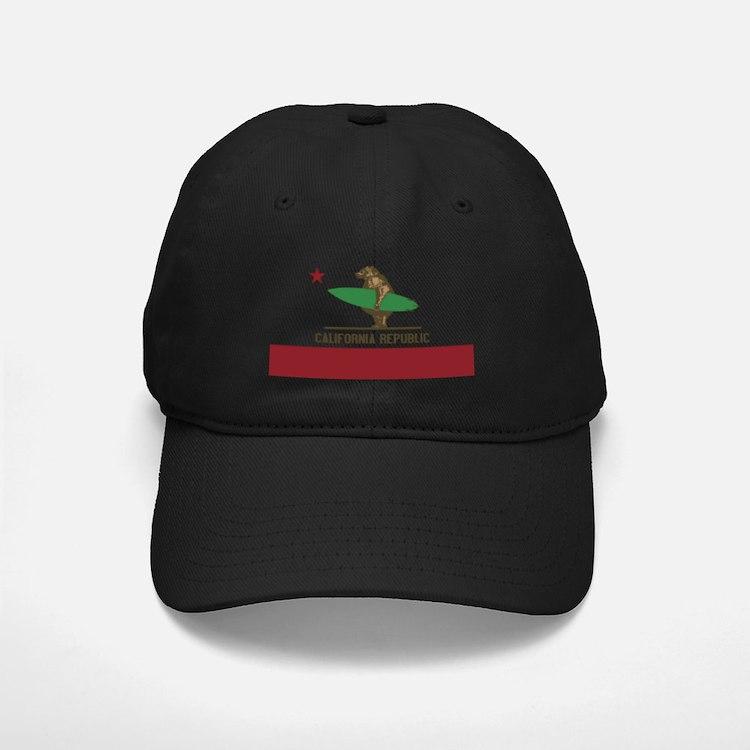 California Surfing Bear Baseball Hat