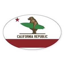 California Surfing Bear Decal