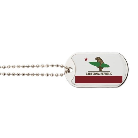 California Surfing Bear Dog Tags