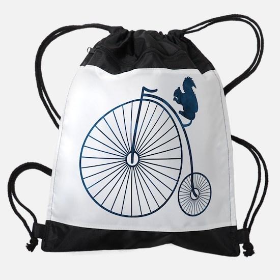 Squirrel on a high wheel Drawstring Bag