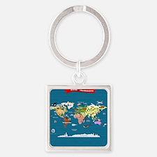 World Map For Kids - Swedish Square Keychain