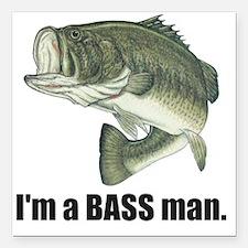 "bass man Square Car Magnet 3"" x 3"""