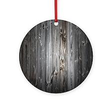 Gray Wood Plank Ornament (Round)
