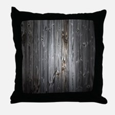 Gray Wood Plank Throw Pillow