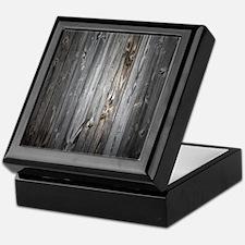 Gray Wood Plank Keepsake Box
