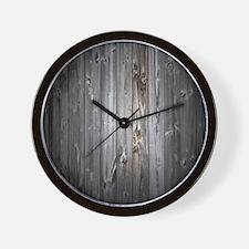 Gray Wood Plank Wall Clock