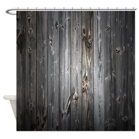 gray wood plank shower curtain by aprilsims