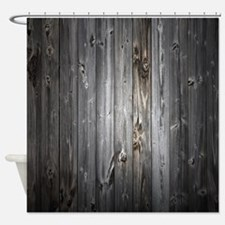 Gray Wood Plank Shower Curtain