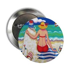 "Nautical Beach Seashore Sandman Showe 2.25"" Button"