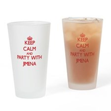 Keep Calm and Party with Jimena Drinking Glass