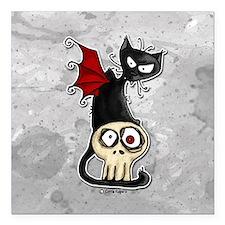 "Funny Cat skull Square Car Magnet 3"" x 3"""