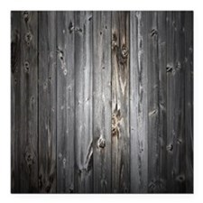 """Gray Wood Plank Square Car Magnet 3"""" x 3"""""""