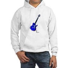 guitar single cutaway music design blue Hoodie