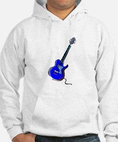 guitar single cutaway music design blue Hoodie
