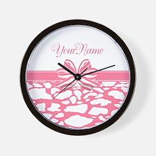 Cotton Candy Pink Ribbon Wall Clock