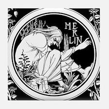 Merlin Art Nouveau fantasy Tile Coaster