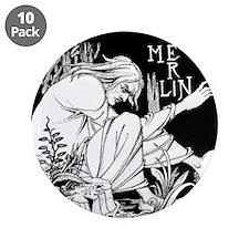 """Merlin Art Nouveau fantasy 3.5"""" Button (10 pack)"""