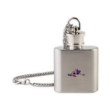 Girl Baby Peeking with Lipstick and Bow Flask Neck