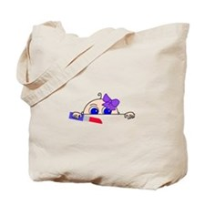 Girl Baby Peeking with Lipstick and Bow Tote Bag