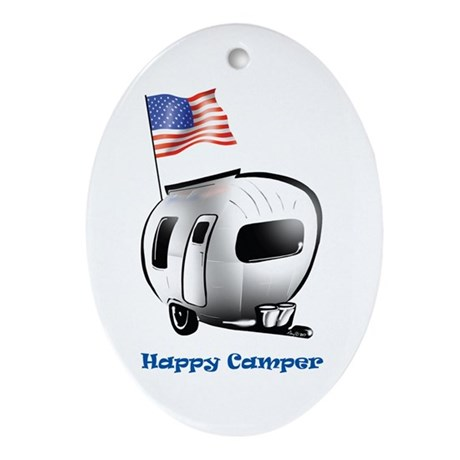 Happy Camper USA Ornament (Oval)